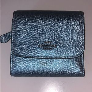 Coach Blue Metallic Wallet